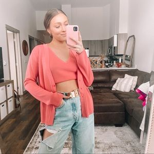 Vintage pink tank top and sweater set